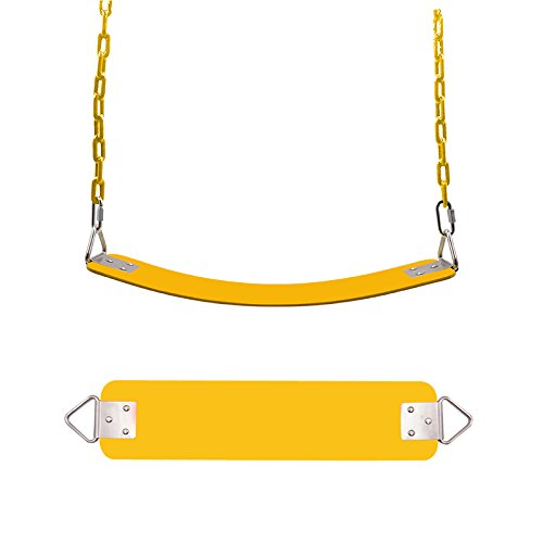 FiLL&Joy To Joy 64 inch Fully Coated Water Resistant link chain children's toys/gifts Swing Seat/rope swing/Trapeze Table/swing frame. (Brisk yellow)