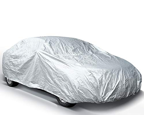Ohuhu Car Covers for Sedan Outdoor, 2019 Upgrade Car Cover Windproof Dustproof Scratch Resistant Universal Full Size Dual Layer Auto Vehicle Cover for Sedan L (191