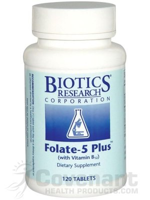 Folate 5 Plus with B12 120T – Biotics by Biotics Research