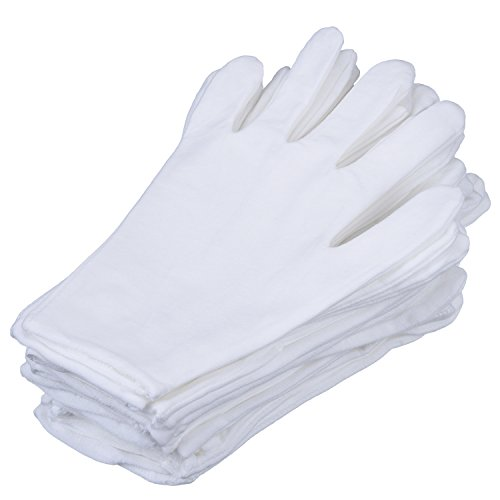 - eBoot 12 Pairs White Lycra Cotton Gloves Work Gloves (Large)