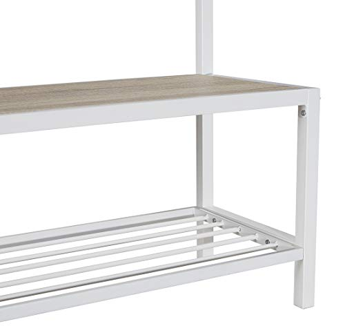 Homissue Modern Style 2 Shelf Hall Tree with Storage Bench, Light Oak Bench and Lower Shelf with White Steel Frame, Entryway Shoe Rack with 5 Hooks for Garments - Modern Style with Simple Design: Made of white steel frame and MDF, wood grain (Not solid wood), add this elegant hall tree to the entryway or hallway to complement a fashionable aesthetic. Versatile Hall Tree with Bench: It not only works great as a shoe bench in the entry, but also can be an extra storage shelf to keep several pairs of shoes or baskets for daily items and accessories in your living room Reliable Construction:Its sturdy metal frame allows the whole clothes rack more durable and stable to hold up to 230 lbs; shoe bench has a weight capacity of 180 lbs - hall-trees, entryway-furniture-decor, entryway-laundry-room - 41qiyekdxPL -