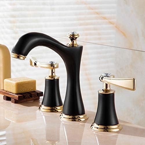 毎日の装飾ヨーロピアンスタイルタップ3穴8インチの洗面器の蛇口耐摩耗性高温銅非フェーディングバスルームキャビネット分割蛇口耐久性のある3ピースチタンの蛇口