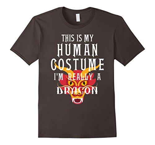 [Mens I'm Really A Dragon Halloween Costume Easy Tee Funny T Shirt Small Asphalt] (Super Teacher Costume Ideas)