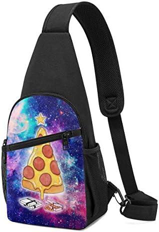 ボディ肩掛け 斜め掛け スペースのピザ ショルダーバッグ ワンショルダーバッグ メンズ 軽量 大容量 多機能レジャーバックパック