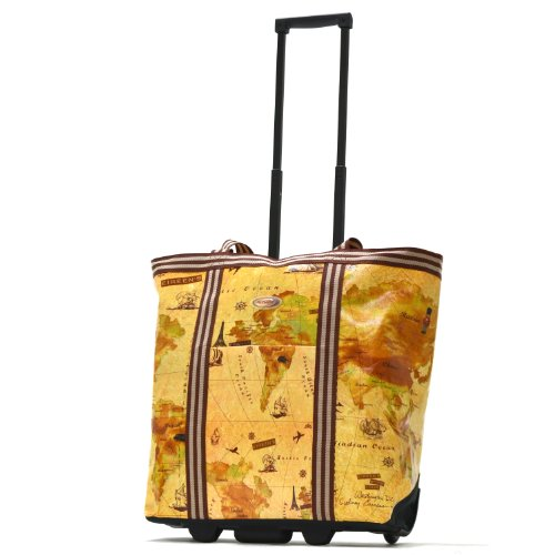 Olympia Luggage Cosmopolitan Rolling Shopper Tote, Map, One Size