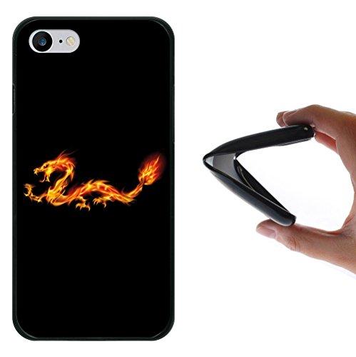 iPhone 8 Hülle, WoowCase Handyhülle Silikon für [ iPhone 8 ] Abstrakterfeuerdragon 2 Handytasche Handy Cover Case Schutzhülle Flexible TPU - Schwarz