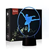 NChance LED Night Lights 3D Illusion Ballet Lamp 7 Colors Changing Sleeping Lighting with Smart Touch Button Cute Halloween Gift Warming Birthday Present Creative Decoration Ideal Art and Crafts
