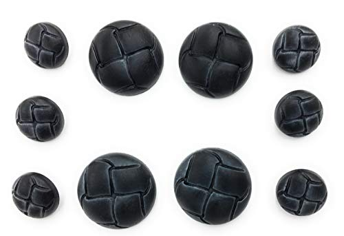 (Premium ~NAVY~ 10-Piece Faux LEATHER FASHION BUTTON SET ~for Sport Coats & Blazers.)