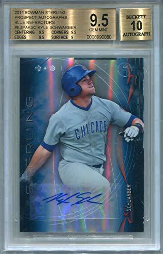 2014 Bowman Autographs - Kyle Schwarber Chicago Cubs Certified Authentic Autograph - 2014 Bowman Sterling Prospect - BGS 9.5 GEM MINT (Autographed Baseball Cards)
