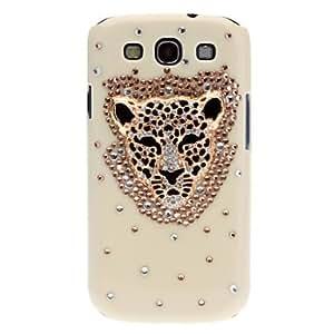 Hierro Cabeza hacia atrás la caja del Rhinestone del leopardo para Samsung Galaxy S3 I9300