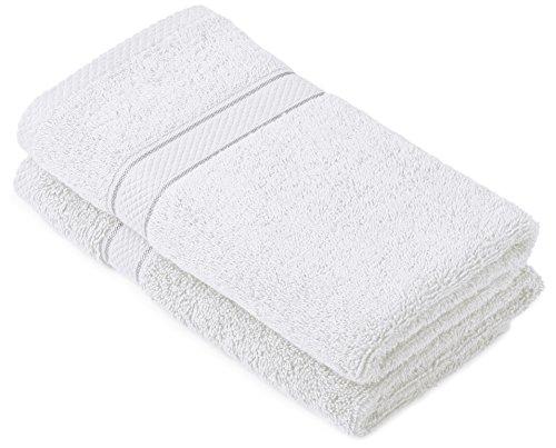 Pinzon by Amazon Lot de 2serviettes de bain en coton Blanc