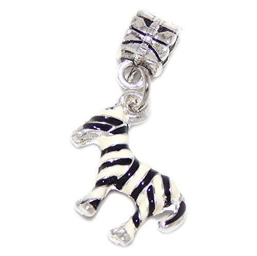 GemStorm Silver Plated Dangling 'Zebra' For European Snake Chain Bracelets