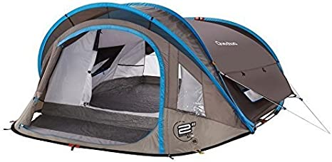 QUECHUA Waterproof Pop Up Camping Tent 2 Seconds XL Air III, 3 Man Double Lining by