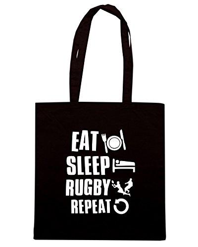T-Shirtshock - Bolsa para la compra TRUG0102 eat sleep rugby logo Negro