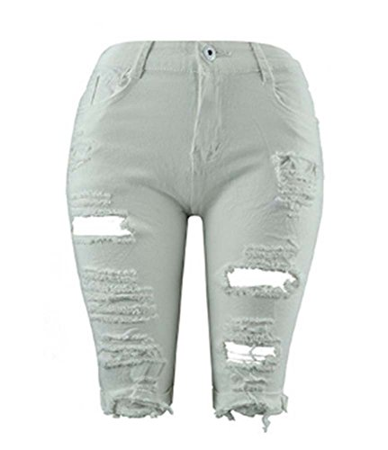 Estivi 2018 In Strappato Autunnali Bianco Jeans Strappati Skinny Casual Denim Donna Da rRIznrZO7