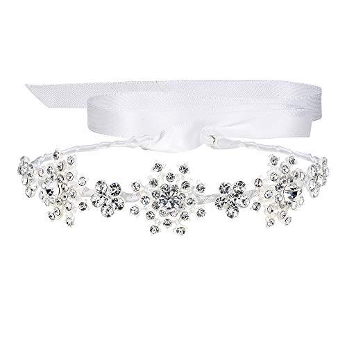 EVER FAITH Silver-Tone Austrian Crystal Wedding Snowflake Flower Hair Band Clear
