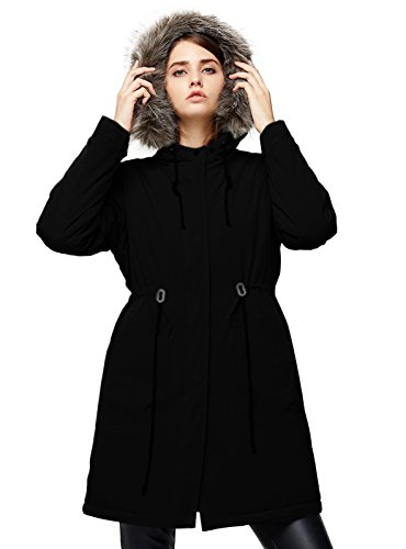 Leather Lined Parka - Escalier Women`s Winter Parka Coat Faux Fur Hooded Jacket Fleece Lined Parkas Black M