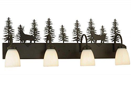 Meyda Deer - Meyda Tiffany 126281 Deer Through The Trees 4 Light Vanity Light Fixture, 33