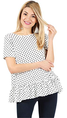 White Ruffle Blouse Polka Dot Shirts for Women Loose Tshirt Short Sleeve Tunic Top Polka Dot Blouse Womens Flowy Tops (Size Medium US 6-8, Polka dot White/Black/Short Sleeve) (Black And White Polka Dot Winter Scarf)