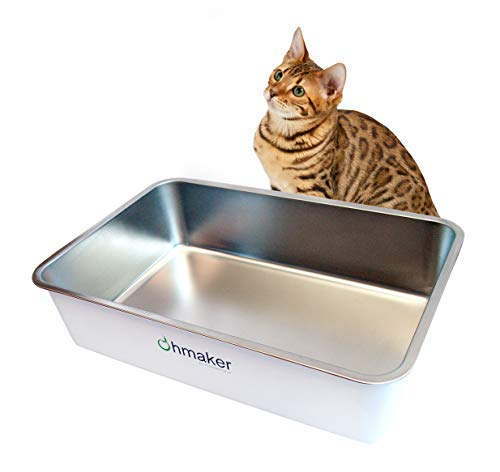 Ohmaker's OhmBox - Stainless Steel Cat Litter Box, Extra Large, Never Absorbs Odors, Stains or Rusts, Non-Stick Smooth Surface, Easy Cleaning with Non-Slip Rubber Feet. White 23.5 x 15.5 x 6.1 inches