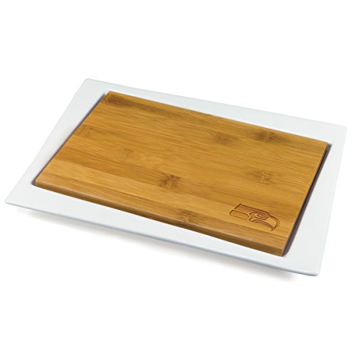 (NFL Seattle Seahawks Homegating Enigma Serving Tray with Offset Cutting Board)