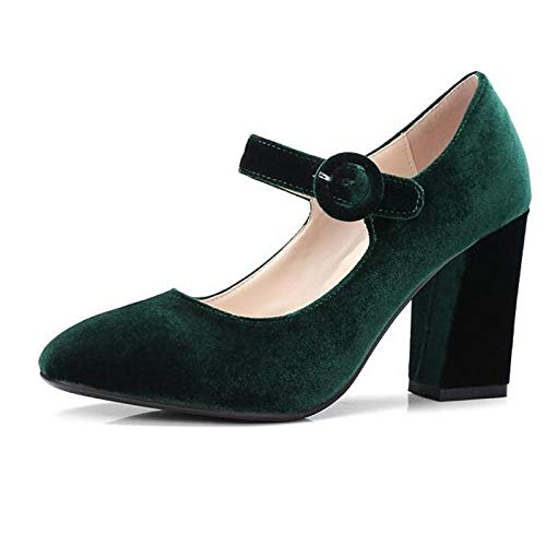 Black Zapatos Green ZHZNVX Chunky Suede Spring Mujer Red de Comfort Red Heel Tacones zPwPdfqx1