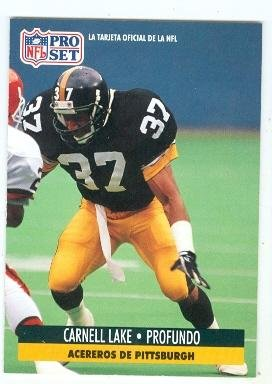99079779397 Carnell Lake football card (Pittsburgh Steelers All Pro) 1991 Pro Set  204  Spanish