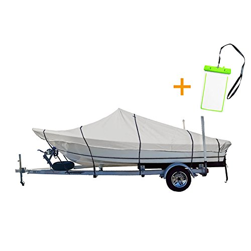 "NEXCOVER NEXTCOVER Water Proof Center Console Boat Cover,trailerable,P.U Coated 600D Marine Grade Boat Cover.W/free water proof phone case,Fits center console boat up to 20'-22'long and102""wide,NB42C126B,Grey price tips cheap"