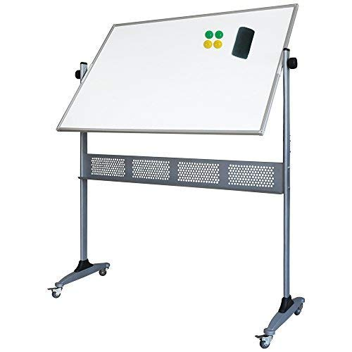 XIWODE Double-Sided Magnetic Mobile Whiteboard, Large Rolling Dry Erase Board on Wheels, Portable White Board Planner with Stand, 48 X 36 Inch, Silver Aluminium ()