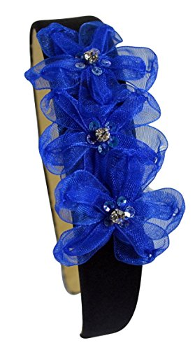 Royal Blue Band Arch - Girls Lulu Organza Rhinestone Flower Girl Headband By Funny Girl Designs (Black Band Royal Blue Flowers)