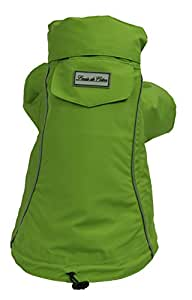 Louie de Coton Made in USA Limited Edition Waterproof Breathable Reflective Packable Pet Rain Coat with Stow Away Hood, Green (Small)