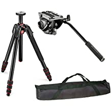 "Manfrotto 190 Go! Aluminum 4 Section Tripod Kit with MVH500AH Lightweight fluid video head with flat base and and a Vidpro 35"" Padded Case"
