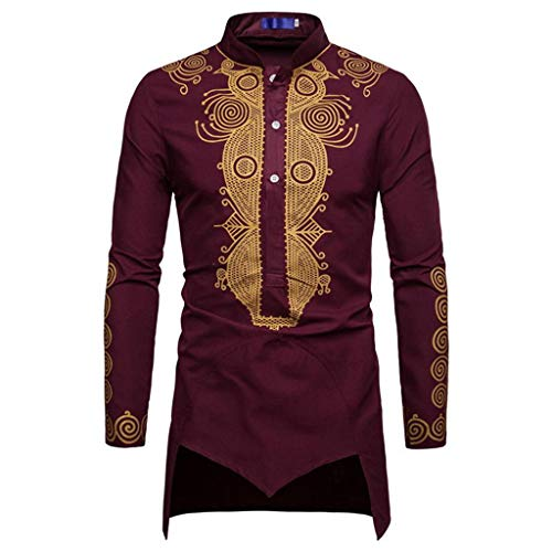 Luxfan Mens Dashiki African Tribal Clothing Printed Long Henley Shirt Traditional Ethnic Slim Fit Outfit Plus Size (D-Maroon, S) (Best African Clothing Styles)