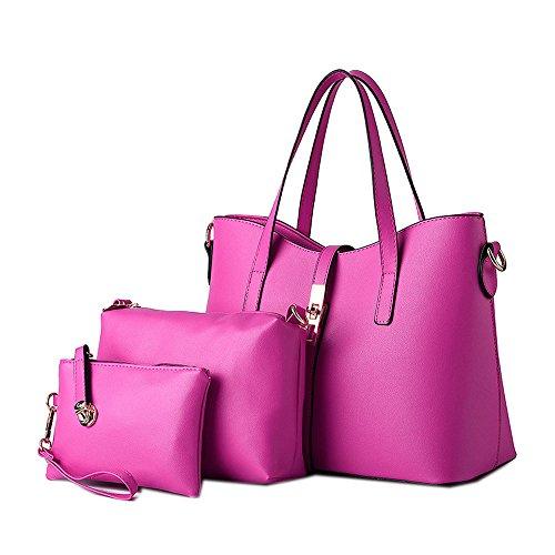 DELEY Fashion Women Tote Handbag Shoulder Bag Ladies Office Briefcase Shopper Rose(3 in 1)
