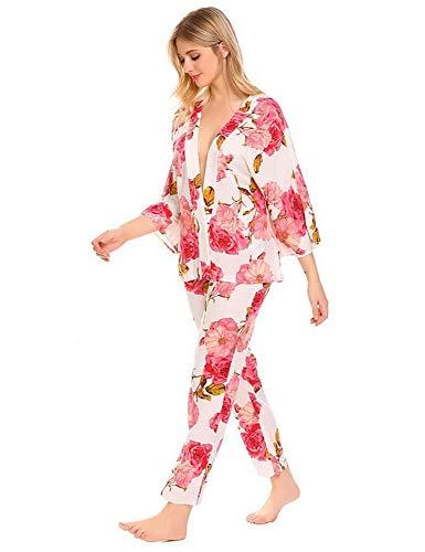 Sexy Pigiama Primavera Lunga Notte Autunno Con Da L Per JYHTG La Pigiameria Larga Manica 4 A V Abbigliamento Con 3 Donna Casa Floreale Scollo Pigiama Da Stampa dqtCBBxUn