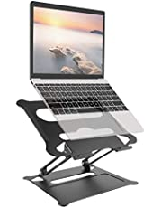 UPPERME laptopstativ, svart, justerbar vinkel med värmeventil, notebookstativ kompatibel för 10–17 tums bärbar dator, inklusive MacBook Pro/Air, IBM, HP, Surface, Samsung