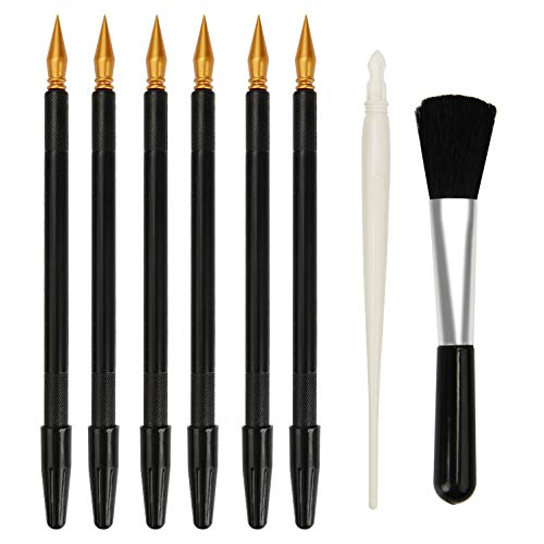 Scratch Color Pen, MOSSLIAN Scratch Art Design Tools, Dual Tip Stylus Scratch Paper Pens,Painting Drawing Arts Tools Set for Art Painting Papers Sheets Boards(6 Pcs Black+1 White+1 Brush) ()