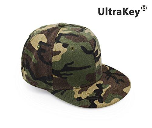 Flat Brim Cap, UltraKey Army Military Camo Baseball Cap Camouflage Hip Hop Flat Bill Plain Snapback Hats Green (Cap Grey Camo)