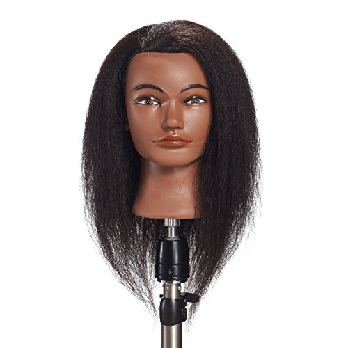 Price comparison product image Hairginkgo 100% Real Hair Mannequin Head Hairdresser Training Head Manikin Cosmetology Doll Head (92019B0214)