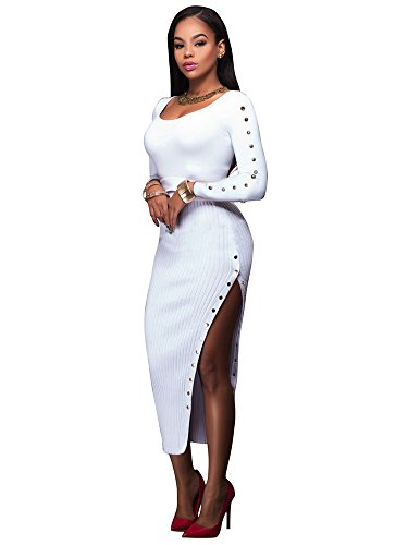 Women Sexy Long Sleeve Button Detail Side Split Slim Ribbed Knit Sweater Dress White