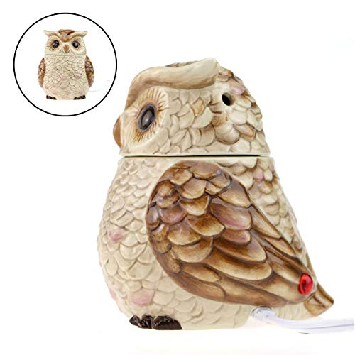 STAR MOON Wax Melt Warmer Electric, Candle Warmer for Wax Melt, Home Fragrance Diffuser, Home Décor, No Flame, with Ceramic Warming Plate (The Owl of Athena) (Ceramic Candle Socket)