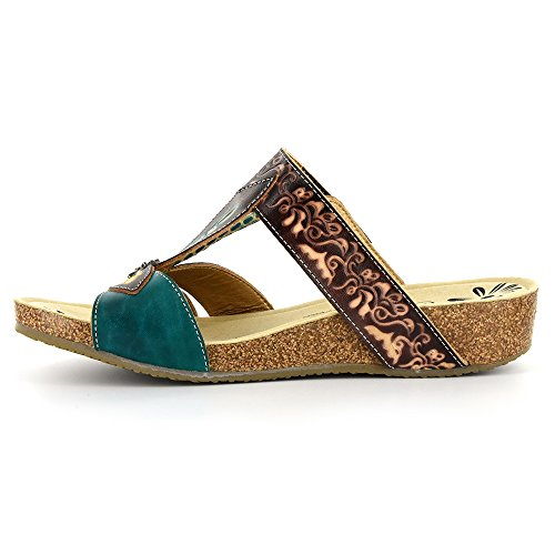 Corkys Corkys Womens Elite Baltic Hand Painted Leather Slide Sandal - Chocolate Chocolate ldyvrXrq