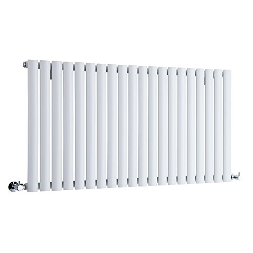 Hudson Reed NAHB0022 - Luxury White Horizontal Designer Radiator Heater With Free Angled Valves - Mild Steel - 25'' x 46.25'' - 1199 Watts - Compact Hydronic Warmer - Cast Iron Style by Hudson Reed (Image #5)