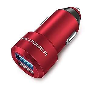 RAVPower Cargador de Coche 24W 4.8A Dual USB Adaptador Automóvil con Tecnología iSmart Funda de Material de Aluminio Compatible con iPad Samsung Galaxy LG Nexus – Rojo