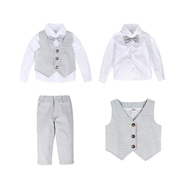 mintgreen Bambino Ragazzo Gentiluomo Tuta Set, Camicia Bianca con Papillon+Panciotto+Pantaloni+Berretti 4pcs… 2