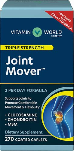 Vitamin World Joint Mover 270 Coated Caplets, Triple Strength, Glucosamine, MSM, Chondroitin, Contributes to Joint Comfort and Mobility, Joint Health, Coated, Gluten Free ()