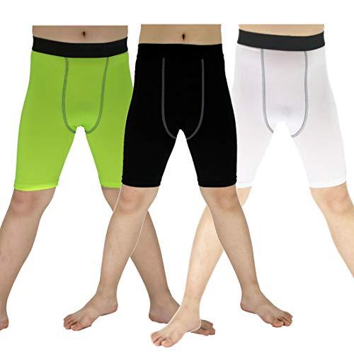 Soccer Sports Capri Compression Short Legging/Tights for Boys Girls 3pcs, Black+white+green, 5 (Girls Football Short)