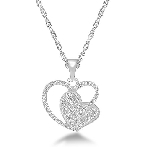 Glamora Jewels Women's 925 Sterling silver White 0.33 cttw Round cut Natural Diamond (H-I Color,I2 Clarity) Heart Pendant Necklace with Chain (Diamond Silver Necklace Pave)
