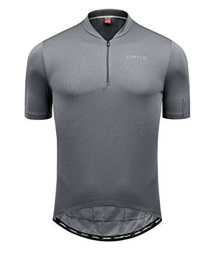 (Santic Mesh Cycling Jersey Men Bike Jersey Cycling Jacket Refkective Breathable Moisture Wicking and Quick Dry with Rear)