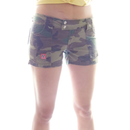 (Molecule Women's Hardworking Hip-Huggers Mid Waist Short Camouflage Cargo Shorts | USA 6/M (Tag L) Euro Woodland Camo)